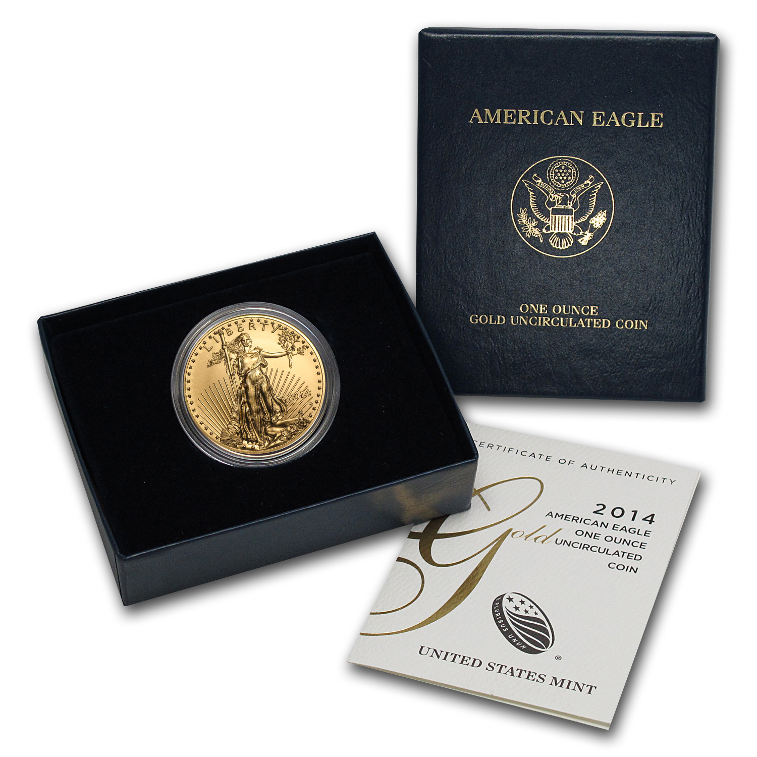 2014-W 1 oz Burnished Gold American Eagle (w/Box & CoA)